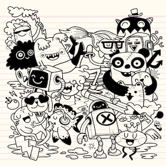 Творчество деятельности забавный мультфильм каракули набор. рисованной иллюстрации.