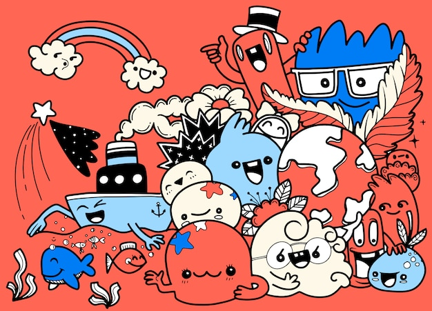 Творчество деятельности забавный мультфильм каракули набор. вектор рисованной иллюстрации.
