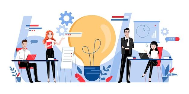創造性とブレインストーミングのコンセプト。創造的な男性と女性の漫画のキャラクターは、オフィスで一緒に新しいプロジェクトに取り組んで開発しています