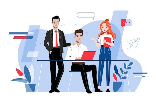 Творчество и концепция совместной работы. собрание деловых людей. группа молодых деловых людей разрабатывают и работают над проектом вместе в офисе. мультфильм линейный контур плоский векторные иллюстрации.