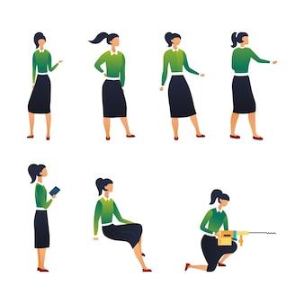 創造性とチームワークの概念。さまざまなポーズの実業家のコレクション。女性キャラクターのシーンのセット。様々な状況でサラリーマンの女の子。漫画フラットスタイル。図。
