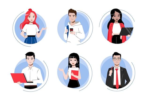 創造性、ブレーンストーミング、チームワークのコンセプト。男性と女性の漫画のキャラクターのビジネスアイコンを設定します。ビジネスマンの多民族グループ。漫画の線形アウトラインフラットスタイル。ベクトルイラスト。