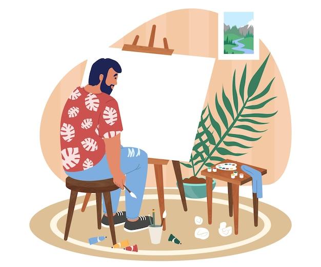 Кризис творчества, выгорание. художник грустный человек сидит за мольбертом, тюбики с краской разбросаны по полу, векторная иллюстрация