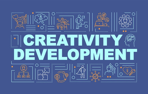 Creativity development blue word concepts banner. innovative thinking. infographics with linear icons on turquoise background. isolated typography. vector outline rgb color illustration