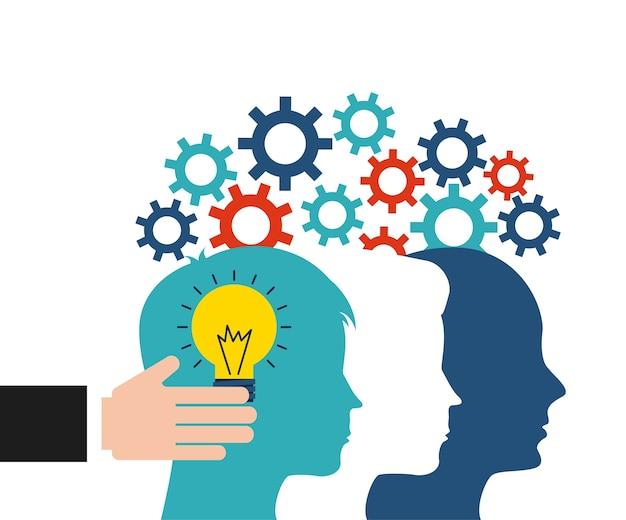 Creativity icon and human head design. vector graphic