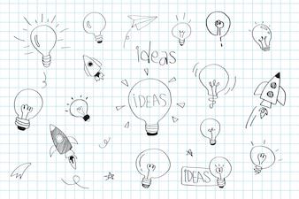 創造性のアイデア電球落書きコレクションベクトル