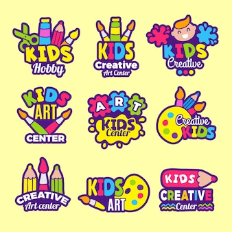 Creativity kids logo. craft emblems or badges children paintings art class drawing  symbols.