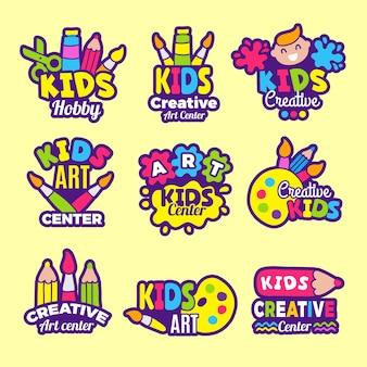 創造性キッズロゴ。工芸品のエンブレムやバッジの子供たちの絵画アートクラスの描画シンボル。