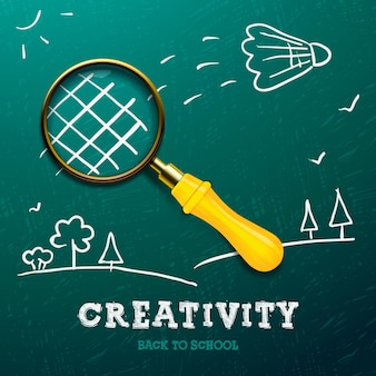 Creativity learning racket made with magnifying glass sketch on the blackboard vector image