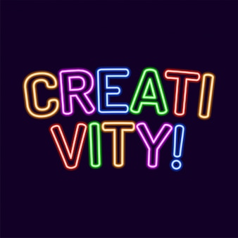 Creativity lettering neon font 80s text