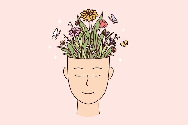 創造性、自己啓発、個人の成長の概念。笑顔とポットベクトルイラストに咲く花でいっぱいの人間の手