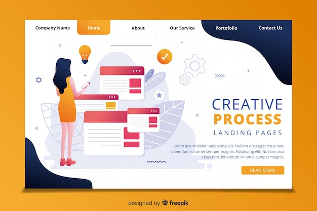 Creativity process landing page template