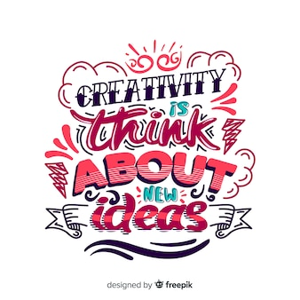 Creativity quote background lettering style