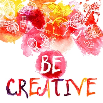 Creativity watercolor concept