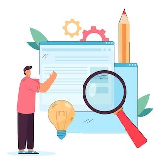 새로운 디지털 콘텐츠를 게시하는 크리에이터. 웹 페이지를 들고 웹 사이트 평면 그림에 정보를 추가하는 사람