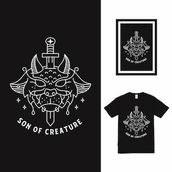 크리쳐 소드 라인 아트 티셔츠 디자인