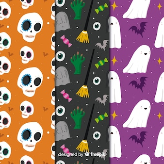 Creatures collection with seamless halloween pattern