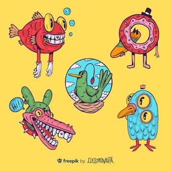 Creatures illustration stickers set