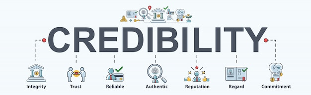 Credibility banner web icon for business and financial