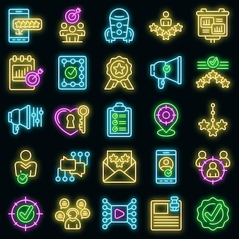 Credibility icons set. outline set of credibility vector icons neon color on black