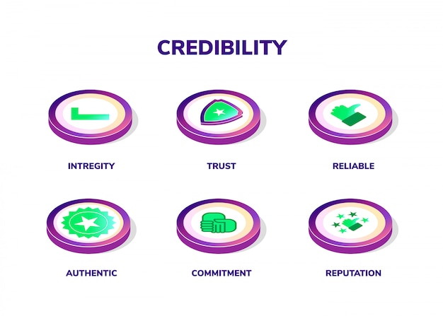 Credibility, reputation and trust concept. banner with vector illustration isometric icons and keywords