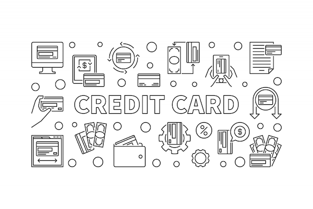 Credit car concept banner in thin line style. illustration