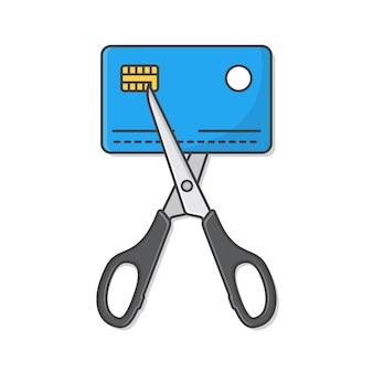 신용 카드는 가위로 잘라지고 있습니다. 가위와 신용 카드 플랫