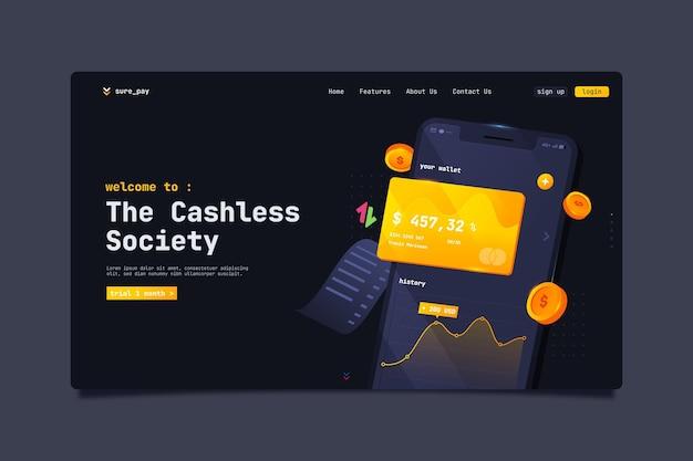 Modello di pagina di destinazione della società senza contanti con carta di credito
