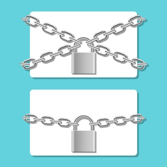 Credit card in chain locked with padlock   illustration  on background