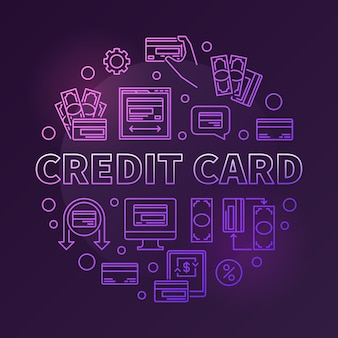 Credit card  coled round outline illustration