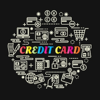 Credit card colorful gradient with line icons set