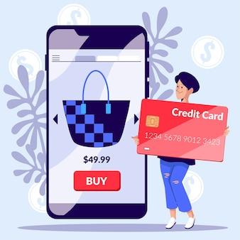 Concetto di carta di credito con smartphone