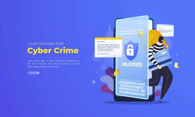 사이버 범죄 그림 개념에 대한 신용 카드 데이터 도용