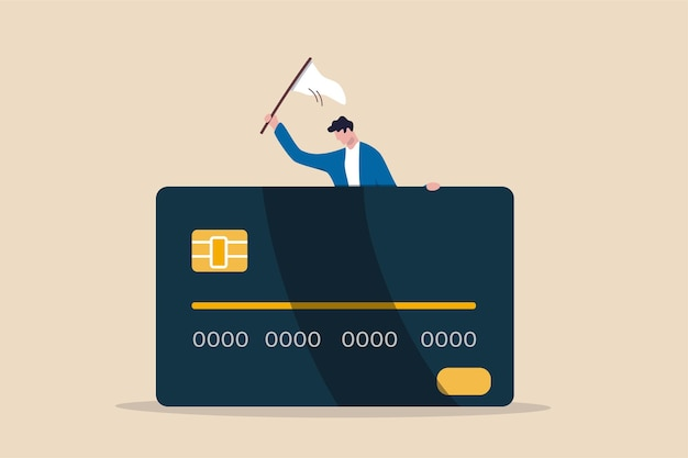 Credit card debt compromise, accept failure and negotiate with debtor concept.