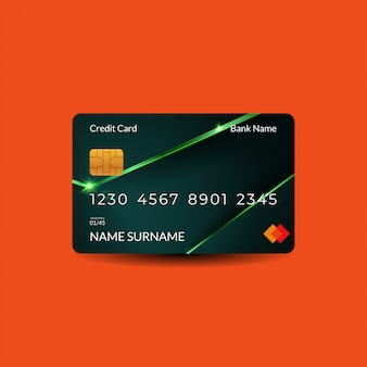 Credit card design templates metalic green motif line