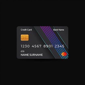 Credit card design templates with dark colors and neon rgb motifs