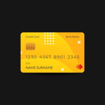 Credit card design templates with yellow color and wave motifs