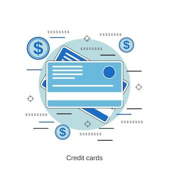 신용 카드 평면 디자인 스타일 벡터 개념 그림