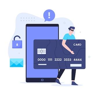 신용 카드 사기 평면 그림 디자인 개념입니다. 웹사이트, 방문 페이지, 모바일 애플리케이션, 포스터 및 배너용 일러스트레이션