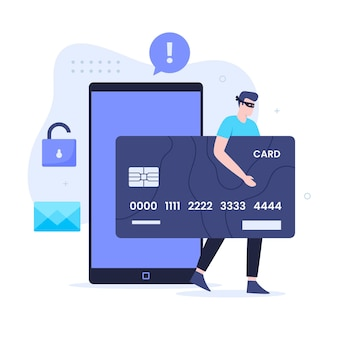 Credit card fraud flat illustration design concept. illustration for websites, landing pages, mobile applications, posters and banners