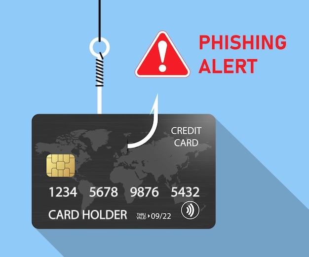 Credit card fraud theft of bank data phishing alert
