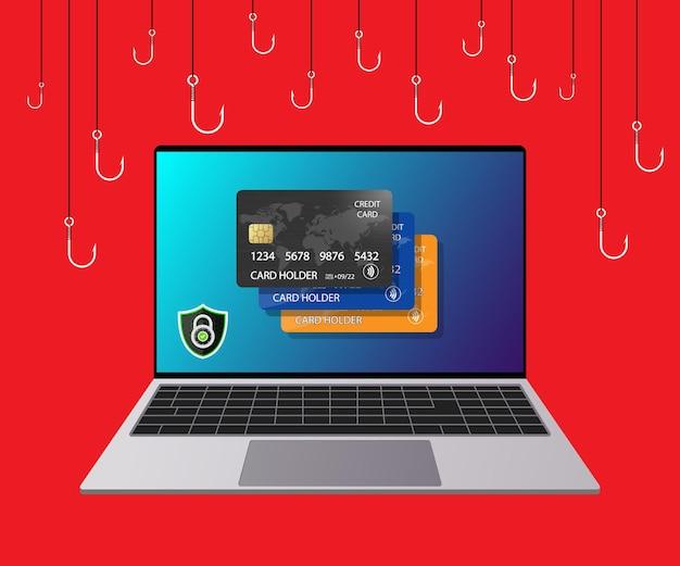 銀行データのクレジットカード詐欺の盗難フィッシングアラート