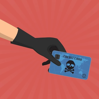 Credit card fraud with skull business data privacy concept.