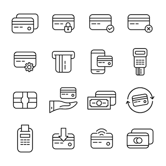 Credit card icon pack, outline icon style