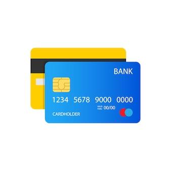 Иллюстрация кредитной карты, вид спереди и сзади. eps10 векторные иллюстрации