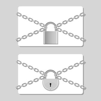 背景に南京錠のイラストでロックされているチェーンのクレジットカード