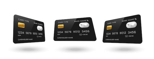 さまざまな角度のクレジットカード