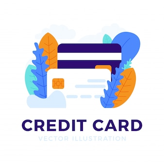 Credit card  isolated   the concept of mobile banking and opening a bank account.
