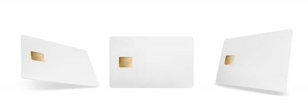 Credit card mockup, isolated blank template with chip