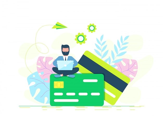 Credit card online payment concept with modern man using laptop to pay, money terminal, and bill